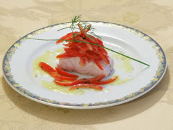 Calvisano sturgeon with tomatoes, basil and Garda Oil